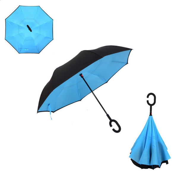 Double Layer Reverse Umbrella (Light Blue)