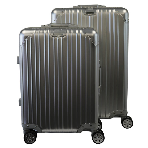 Rock Aluminium Travel Suitcase (24 Inch Silver)