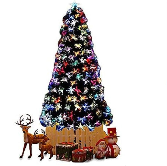 LED Fibre Optic Multicoloured Christmas Tree - 7FT