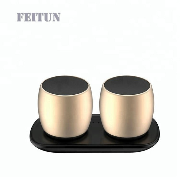 Feitun Twin Mini Bluetooth Speakers Pod (Gold)