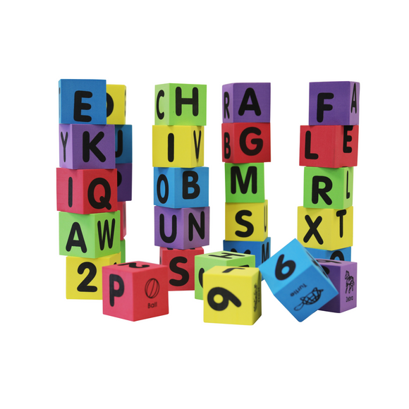 30 Piece Alphabet, Number and Animal Foam Cubes