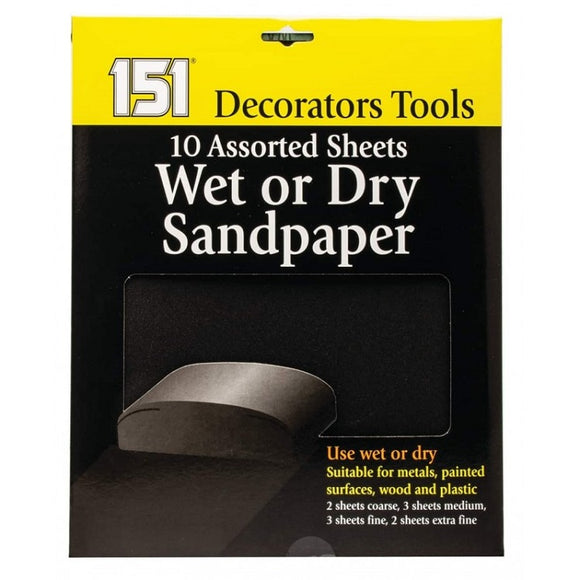 10 Assorted Wet or Dry Sandpaper Sheets
