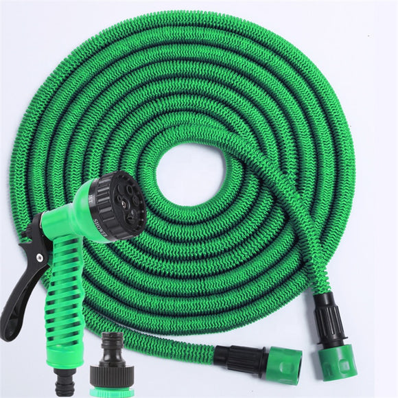 30m Expanding Garden Hose Pipe and Spray Gun Head (Green)