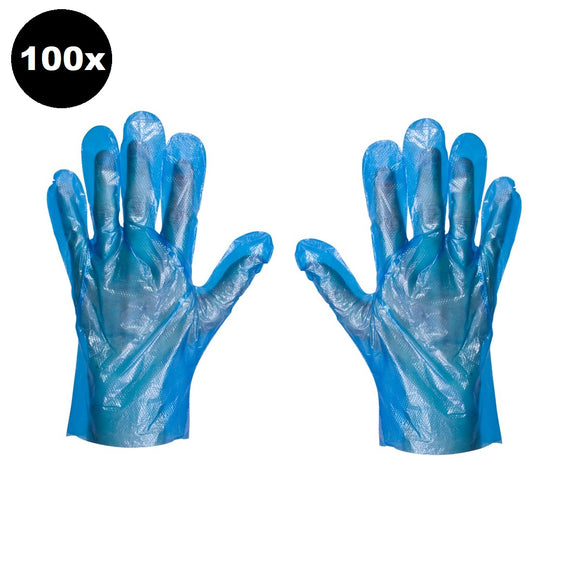 100 Disposable Plastic Blue Gloves