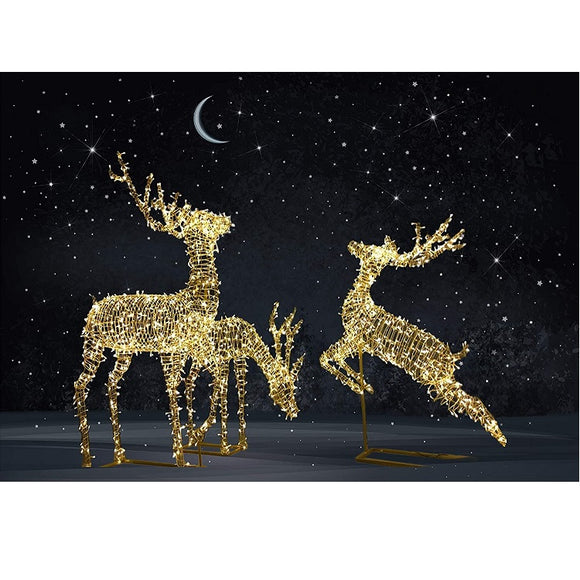 3Pc Rattan Reindeer Set