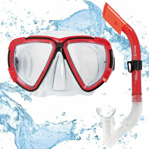 Bestway Diving Snorkel Goggles & Mask (Adult Red)