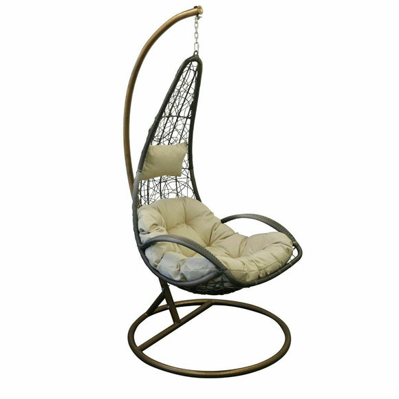 Rattan Garden Long Hanging Chair (Two-Tone)