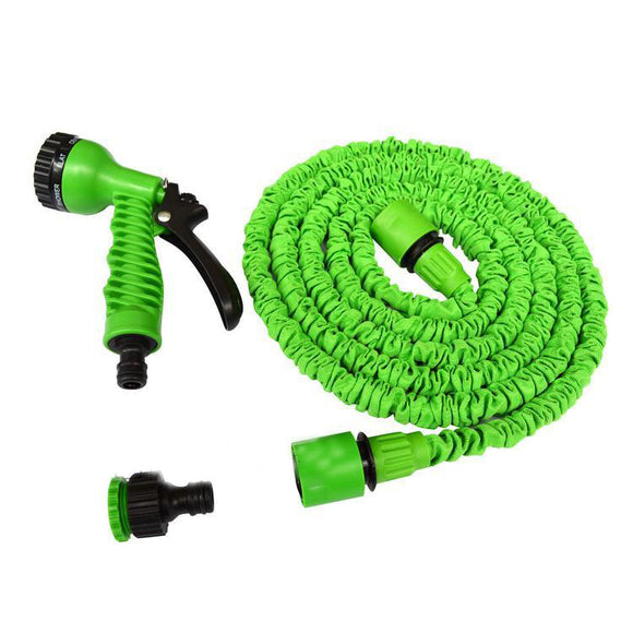 30m Shrinkable Garden Hose Pipe and Spray Gun Head (Green)