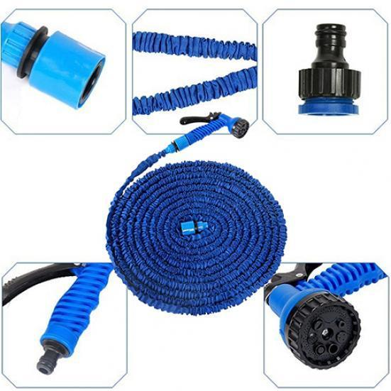 30m Shrinkable Garden Hose Pipe and Spray Gun Head (Blue)