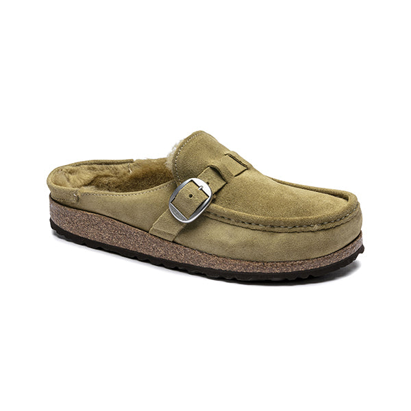 Birkenstock Buckley Shearling Olive Tree בירקנשטוק כפכפי נשים (4792607146058)