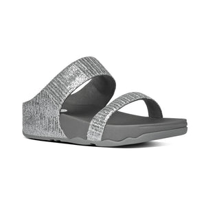 פיט פלופ לולו סופרגליץ סלייד סילבר Fit-Flop Lulu Superglitz Slide Silver (4538690535498)