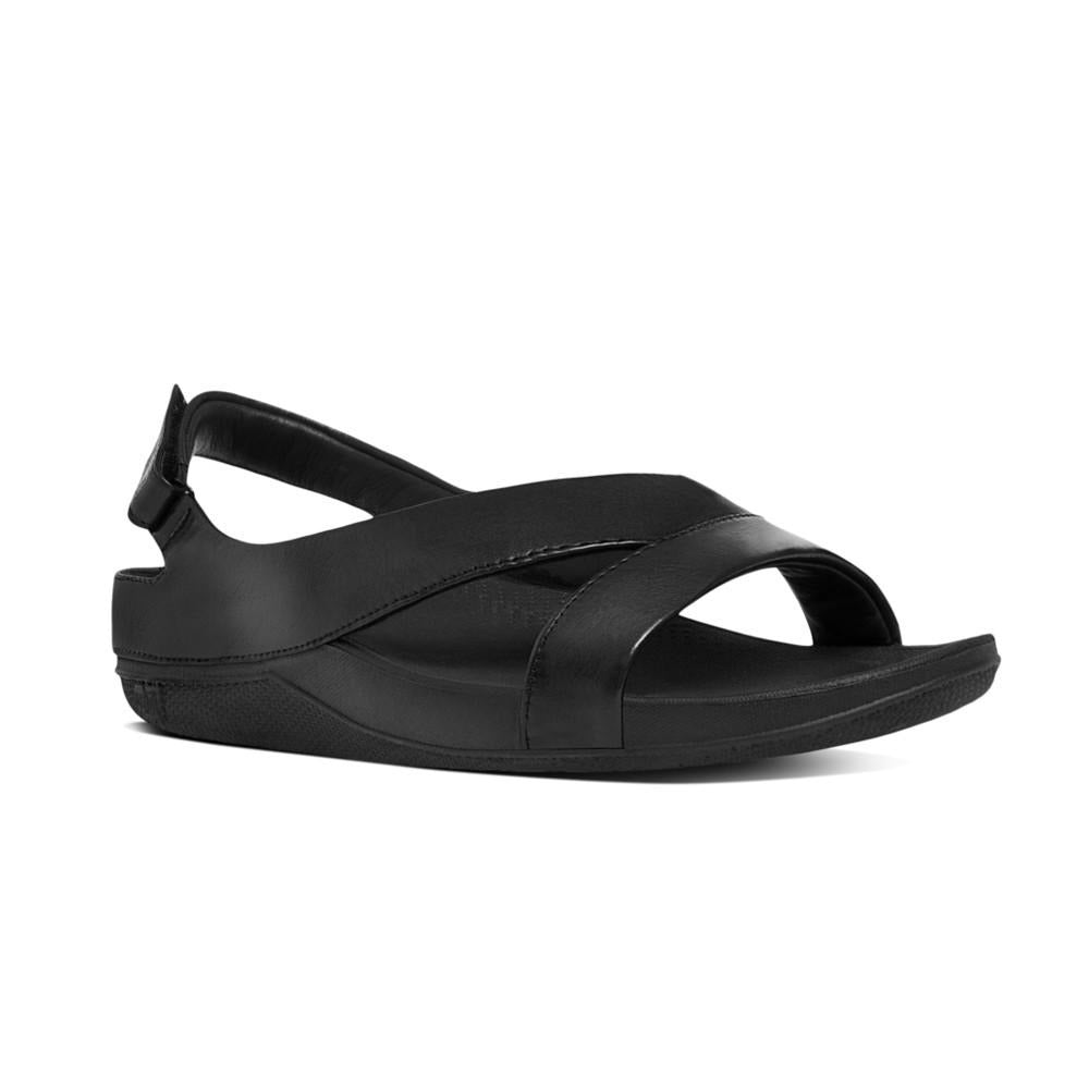 פיט פלופ סופרלייט עור שחור Fit-Flop Superlight Ringer Leather Sandals Black (4538688962634)