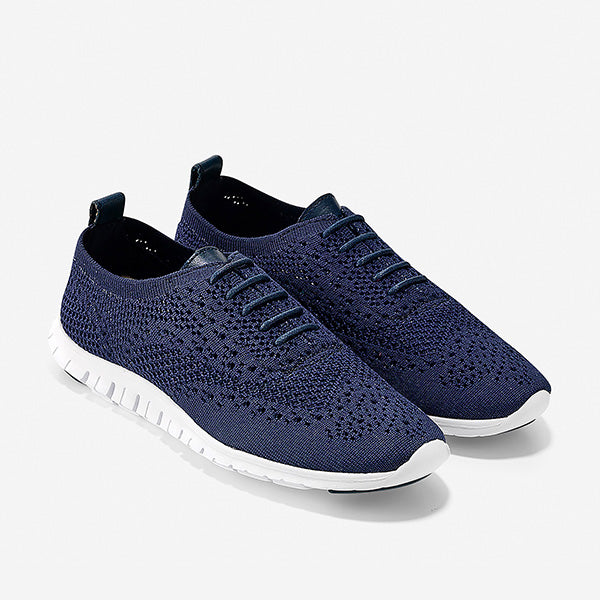 נעלי נשים קול האן Cole Haan Zerogrand Stitchlite Oxford Marine Blue Knit Optic White