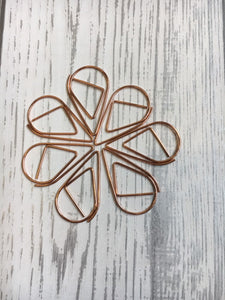 Rose Gold Paperclips - Pack of 10 - Paper Storage, Teardrop Paperclips, Rose Gold Stationery, Rose Gold Desk Accessories