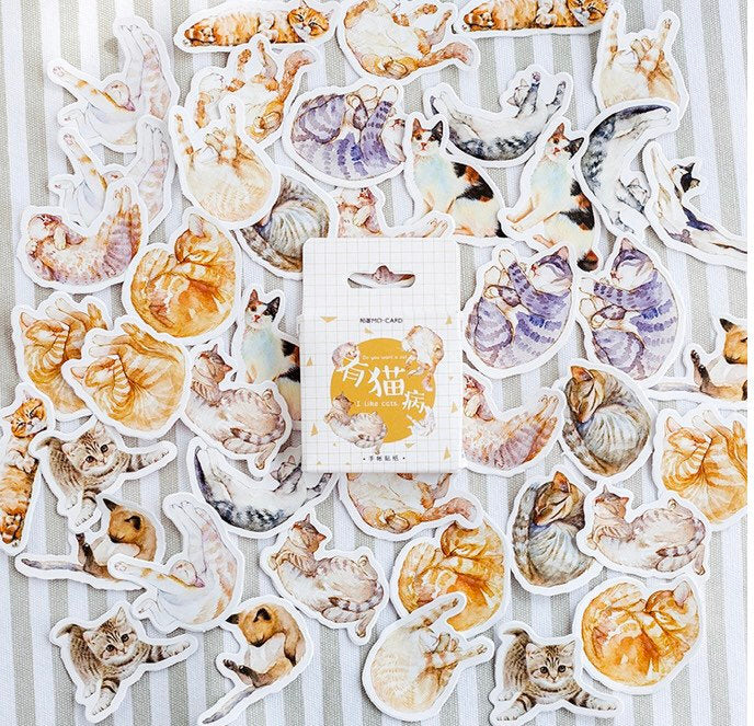 Realistic Cat Stickers - Pack of 45 - Kitten Stickers, Kitty Stickers, Animal Stickers, Pet Stickers, Cat Stickers, Cute Stickers, Planners