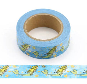 Mermaid Washi Tape - Gold Foil Mermaid Washi Tape, Guilded Mermaid Washi Tape, Gold Foil Washi Tape, Mermaid Gold Washi Tape, Guilded Washi