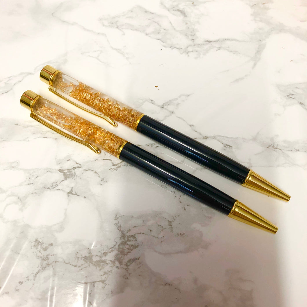 Black and Gold Fleck Filled Ballpoint Pen - The Crafts Vine