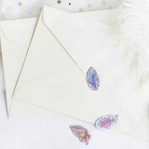 Holographic Feather Stickers - Pack of 100 - feather stickers, Holo stickers, iridescent stickers, Holo planners, Holo stationery