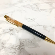 Load image into Gallery viewer, Black and Gold Fleck Filled Ballpoint Pen - The Crafts Vine