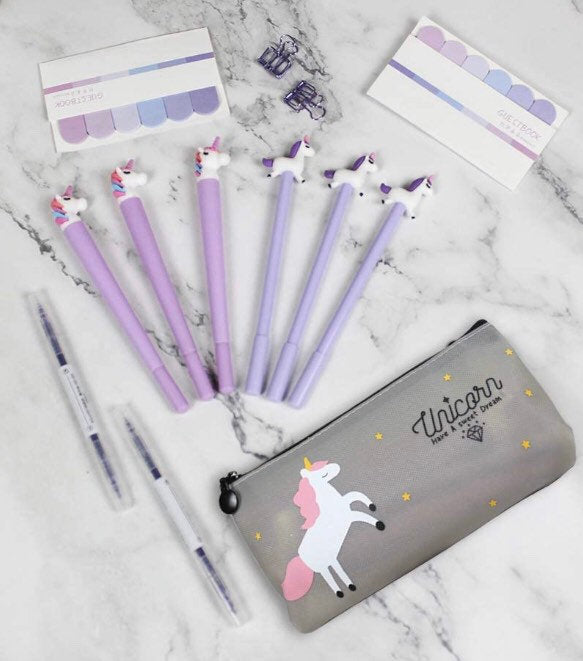 Unicorn Stationery Gift Set - Unicorn Stationery, Unicorn Fineliner Pens, Unicorn Pencil Case, Unicorn Gift Set, Unicorn Planner Set