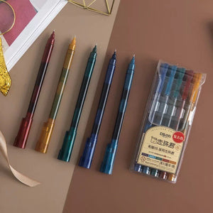 Retro Style Fineliner Gel Pens - Pack of 5 - Mustard Gel Pen, Retro Colour Gel Pens, Fineliner Pens, Vintage Style Pens, Bujo Supplies