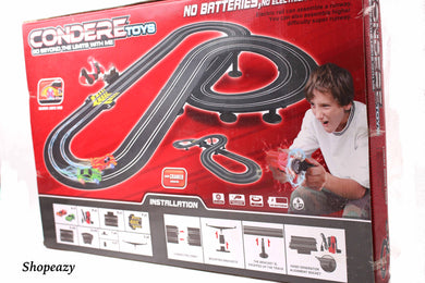 RACE CAR TRACK SET IN A CASE HO SLOT NO BATTERIES REQUIRED HAND CRANK POWERED