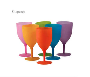 ULTIMATE 6 PIECES - COLOURFUL REUSABLE PLASTIC WINE GLASSES
