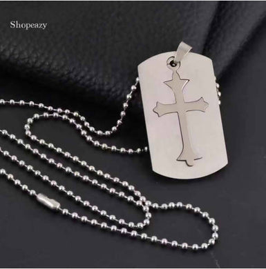 CROSS STAINLESS STEEL PET DOG TAGS + 60CM BEAD CHAINS FASHION MEN PENDANTS ARMY DOG TAGS