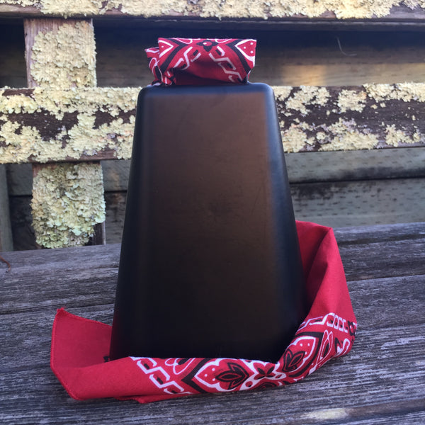 "BLACK FRIDAY SPECIAL :: Black XXL 7-3/4"" Bessie Bell Cowbell with Bandanna"