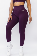 Buenas Vibras Leggings with Pockets - Merlot