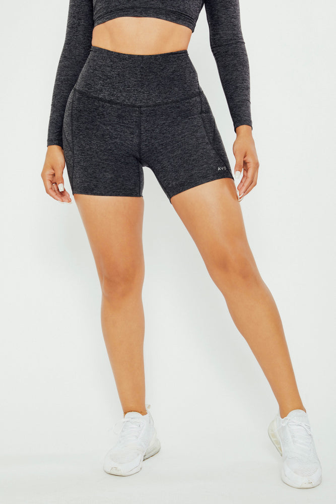 Actually I Can High Rise Shorts - Charcoal Black