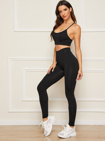 Peekaboo Cami Sports Bra With Leggings