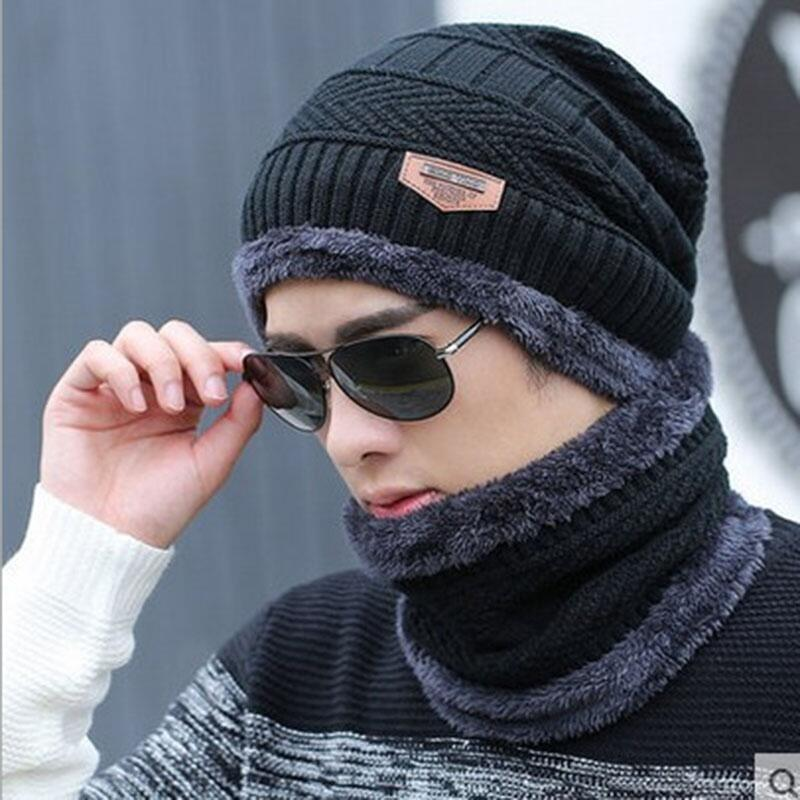 3838628337981 2-IN-1 Winter Hat Scarf Set Beanie - Warm Knitted Hat With Fleece ...