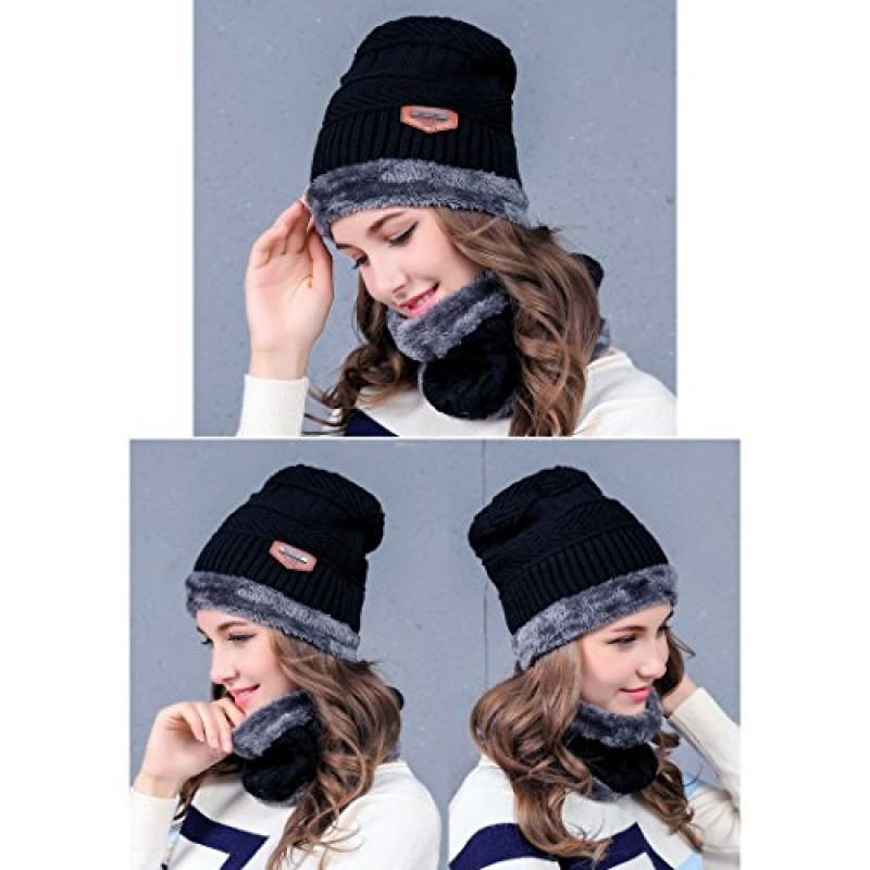 1c29886572b0f5 2-IN-1 Winter Hat Scarf Set Beanie - Warm Knitted Hat With Fleece ...