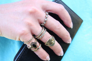Bohemian Ring Set Antik-Optik - Golden