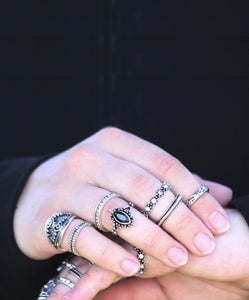 Bohemian Ring Set in Antik-Optik - Silberfarbene