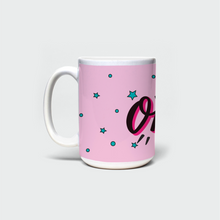 "Load image into Gallery viewer, Mug with ""OMG"" sticker"