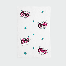 "Load image into Gallery viewer, Hand Towel with ""OMG"" sticker"