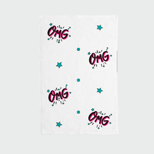 "Hand Towel with ""OMG"" sticker"