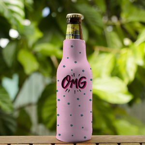 "Koozie with ""OMG"" sticker"