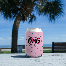"Load image into Gallery viewer, Koozie with ""OMG"" sticker"