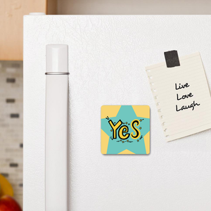 "Metal Magnet with ""YES"" sticker"