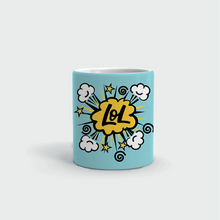 "Load image into Gallery viewer, Mug with ""LOL"" sticker"