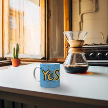 "Load image into Gallery viewer, Mug with ""YES"" sticker"