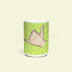 "Mug with ""Hang_Loose"" sticker"