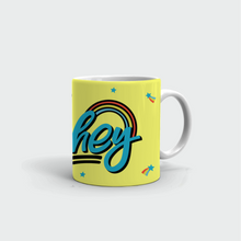 "Load image into Gallery viewer, Mug with ""HEY"" sticker"