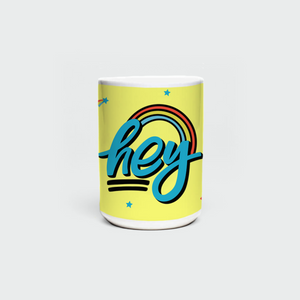 "Mug with ""HEY"" sticker"