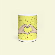 "Load image into Gallery viewer, Mug with ""Heart_Shaped"" sticker"