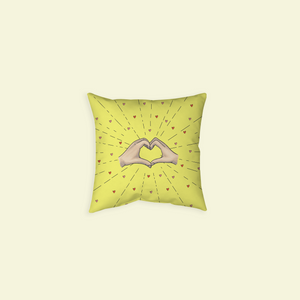 "Throw Pillow with ""Heart-Shaped"" sticker"