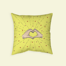 "Load image into Gallery viewer, Throw Pillow with ""Heart-Shaped"" sticker"